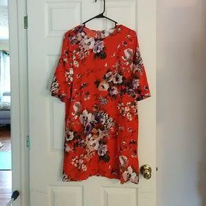 Orange floral shift dress, flare sleeve, H&M